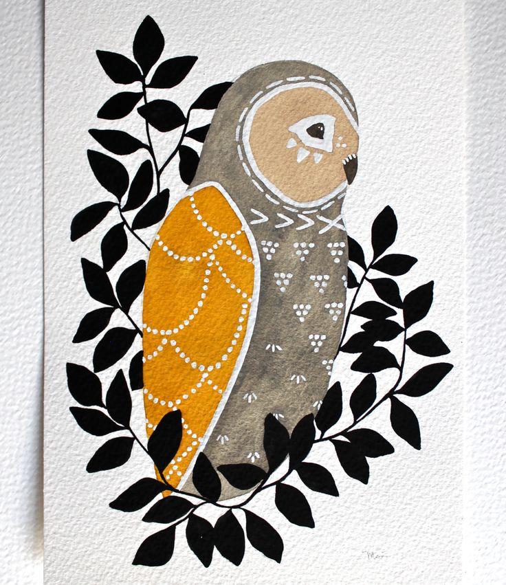 Gufo dipinto - illustrazione ad acquerello arte - archivio stampa - Civetta Mateo di RiverLuna su Etsy