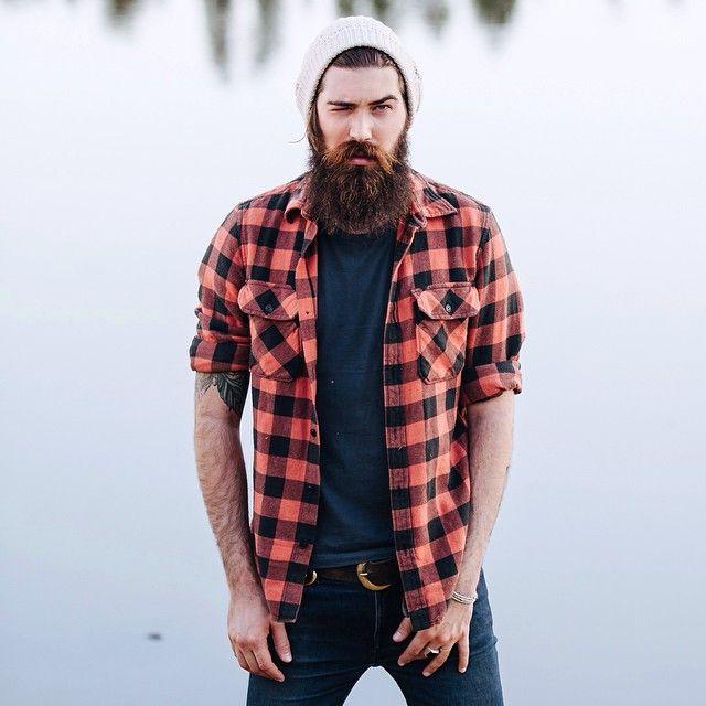Lane Toran - full thick dark beard and mustache beards bearded man men mens' style fall winter fashion clothes flannel plaid handsome #beardsforever