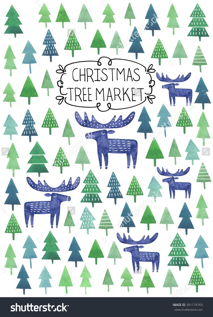 http://image.shutterstock.com/z/stock-photo-christmas-tree-market-poster-or-flyer-design-with-fir-trees-and-moose-silhouettes-on-white-301174763.jpg