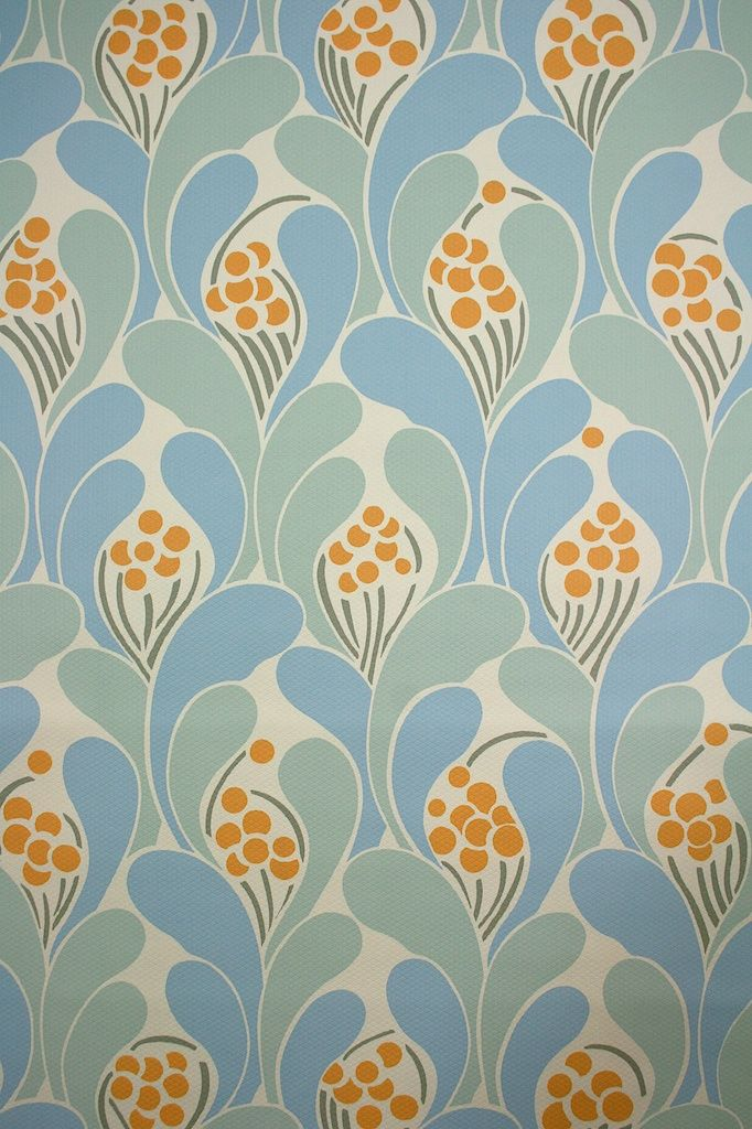 Vintage retro wallpaper with geometric pattern from the seventies.
