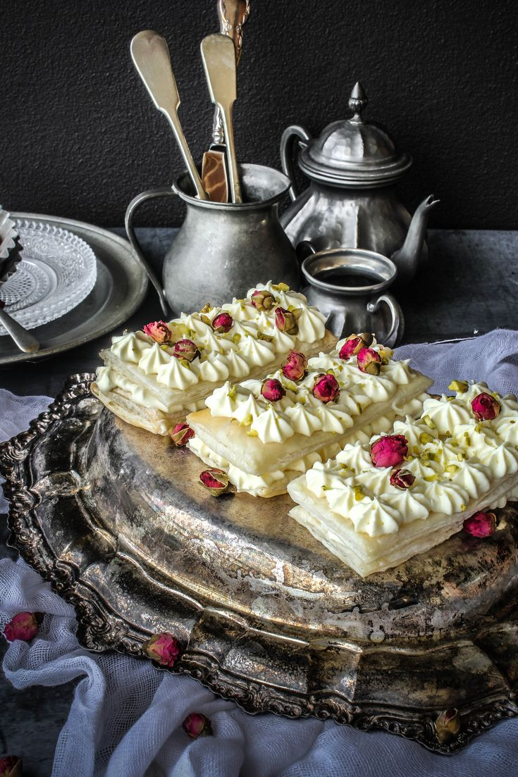 Rose and Cardamom Cheesecake Mille Fuelle