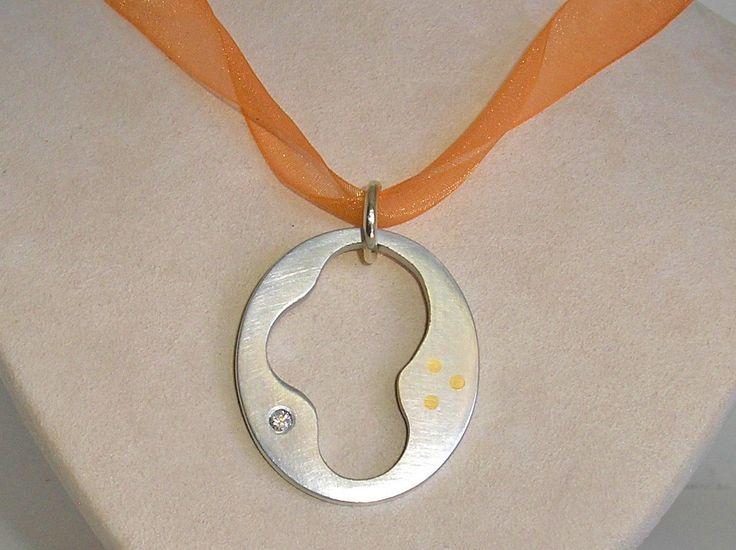 Lumina Oval Recycled Aluminum & Diamond Pendant