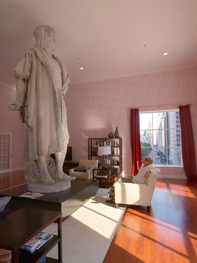 Tatzu Nishis Public Art Installation Discovering Columbus Here Nishi Is Pictured With Gaetano Russos 1892 Sculpture
