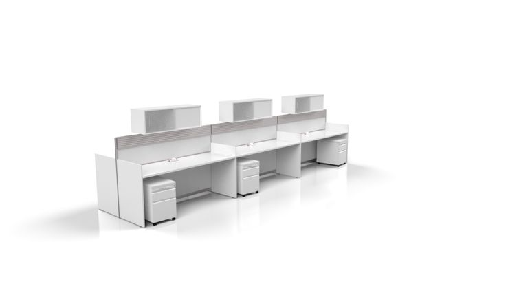This incredible Nova white workstation brings a fresh efficient flair to the workplace.