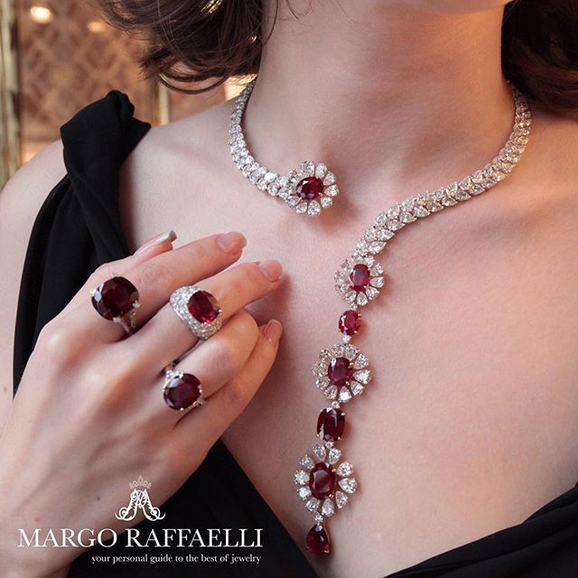 Margo Raffaelli @hernameismargo is wearing exquisite Moussaieff Ruby Rings -18.22 carats; 12.00 carats and 6.22 carats; and elegant Ruby necklace - Rubies 45.22 carats and Diamonds 74.89 carats. #moussaieffjewellers #finejewellery #rubynecklace #rubyrings #diamondandruby #@hernameismargo