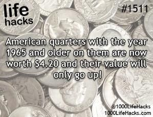 1964 or before it will be made out of silver. Same is true for dimes and dollar ...