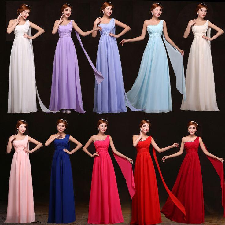 Дешевые одного плеча до пола шифон королевский синий мятно-зеленый платье невесты дешевые платья невесты до 50