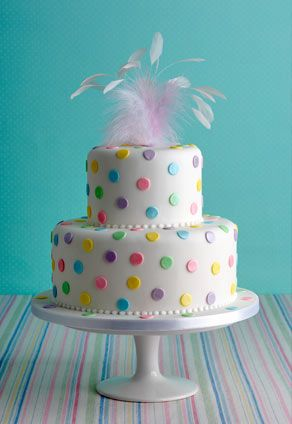 Isn't this a happy cake!  'Dotty About You' birthday cake    : Meyer lemon cake, 'Duchy Originals' lemon curd, vanilla bean buttercream. The Polka dots can be made in any colour combination.