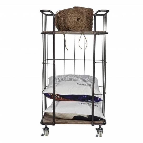 BePure Home. Deze trolley is gemaakt van metaal en hout en heeft een grijs met naturel kleur. De trolley is 88,5 cm hoog, 47,5 cm breed en 37,5 cm diep.
