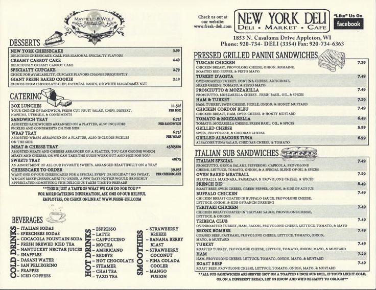 Best Deli Menu Images On   Diners Restaurant And
