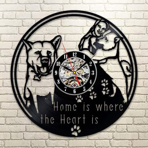 Best Original Wall Clock Made Of Vinyl Record Which Will Definitely Make Everyone Fall In Love With Your Place Dog Wall Art Vinyl Record Clock Dog Wall Decor