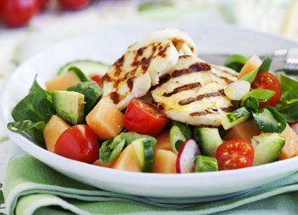 Deffmat: Halloumisallad med melon - 380 kcal