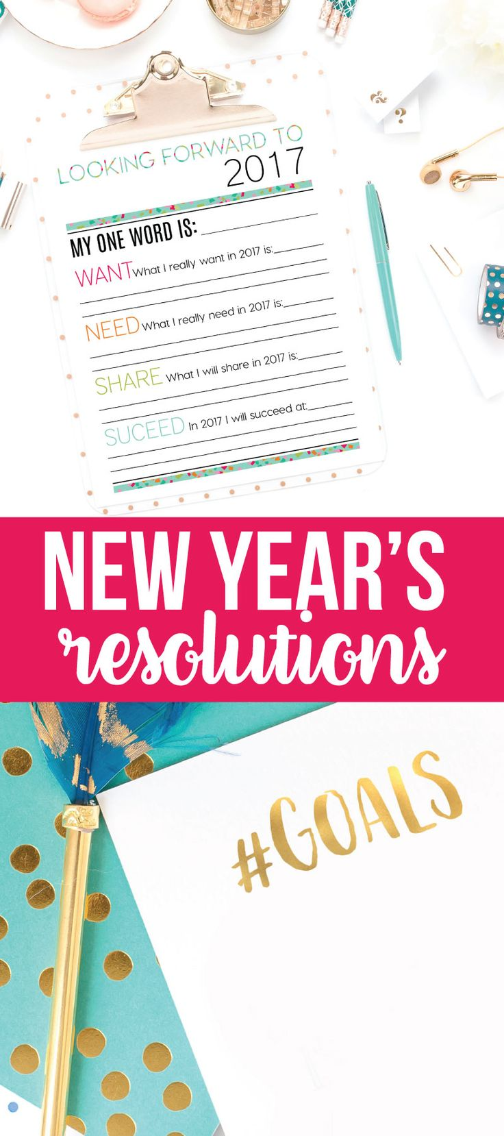 Holidays: Looking Forward to 2017 - New Year's Eve Resolutions Printable from thirtyhandmadedays.com