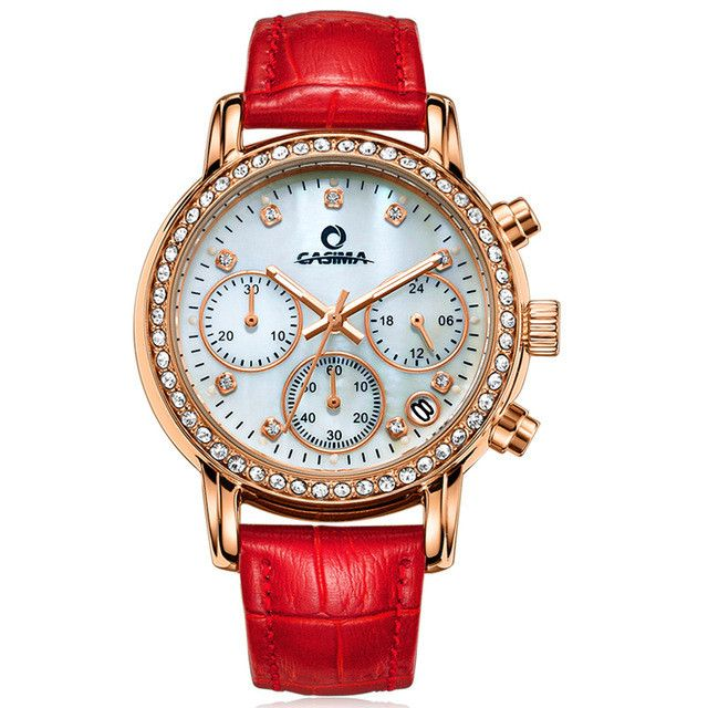 Fashion Luxury watches women Elegent leisure gold crystal women's quartz wrist watch red leather waterproof