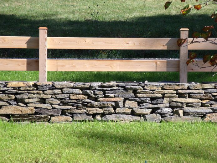stone wall with fence on top - Google Search
