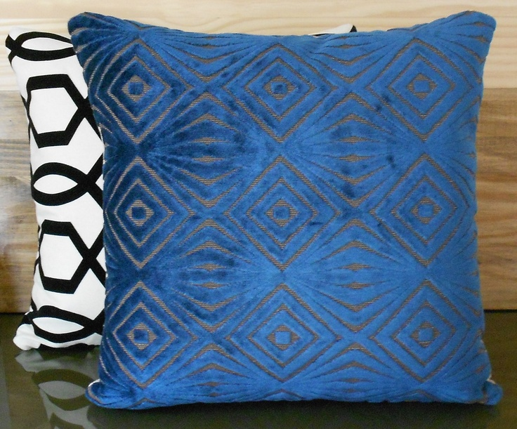 blue decorative pillow cover cut velvet retro by