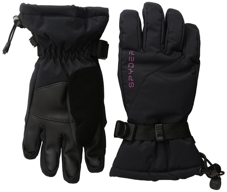 Spyder Girls Essential Ski Gloves, Small, Black/Voila. New waterproof insulated girl's ski glove. Spyder XT.L waterproof insert. Over the cuff gauntlet. Single-handed drawcord.
