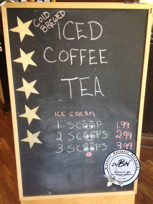 Iced coffee, tea, ice cream