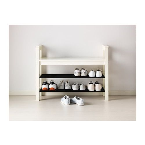 IKEA HEMNES White Bench with shoe storage Shoe storage