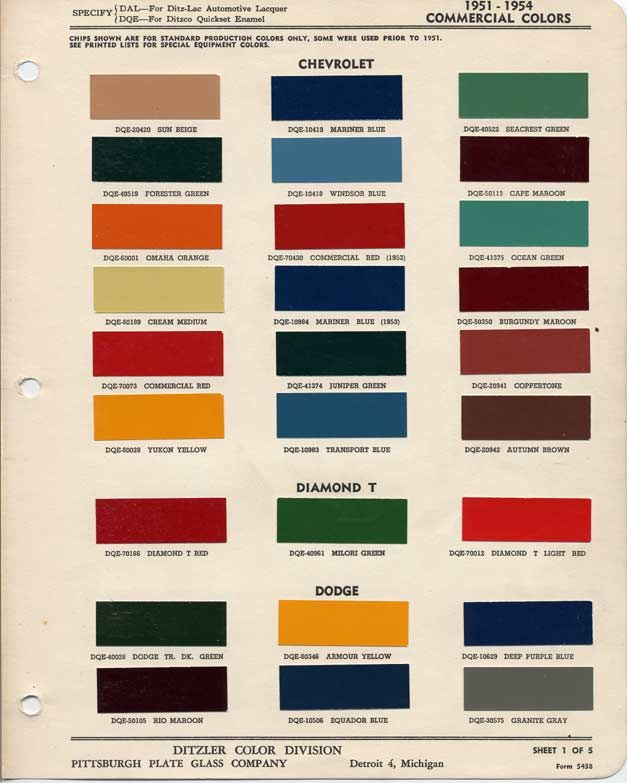 1951-1954 Chevrolet Colors
