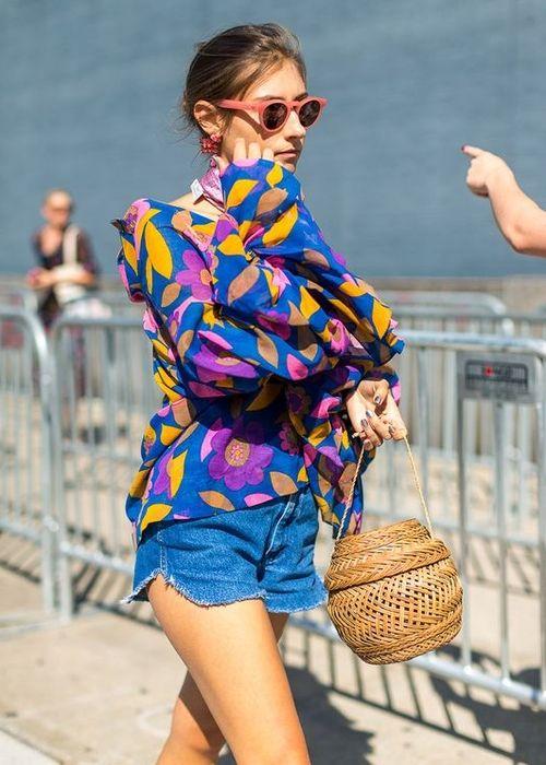 look com bolsa de palha tendência street slyle estruturada