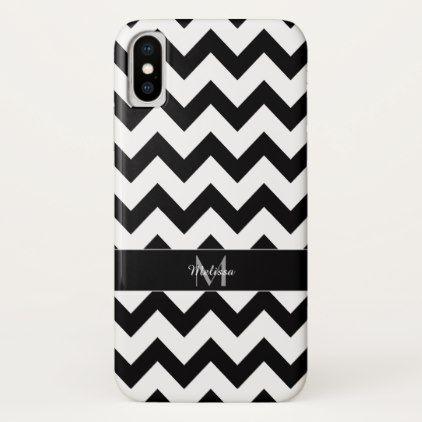 Simple Elegant Black white Chevron Monogram iPhone X Case - pattern sample design template diy cyo customize