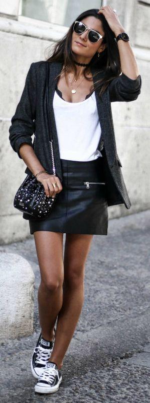 leather skirt + biker chick look + Federica L. + sleek monochrome colour scheme + blazer and skirt outfit + classic black converse. Blazer: Zara, Skirt: Mango, Shoes: Converse.... | Style Inspiration