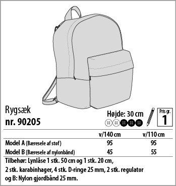 Rygsæk - 90205 - Stof & Stil