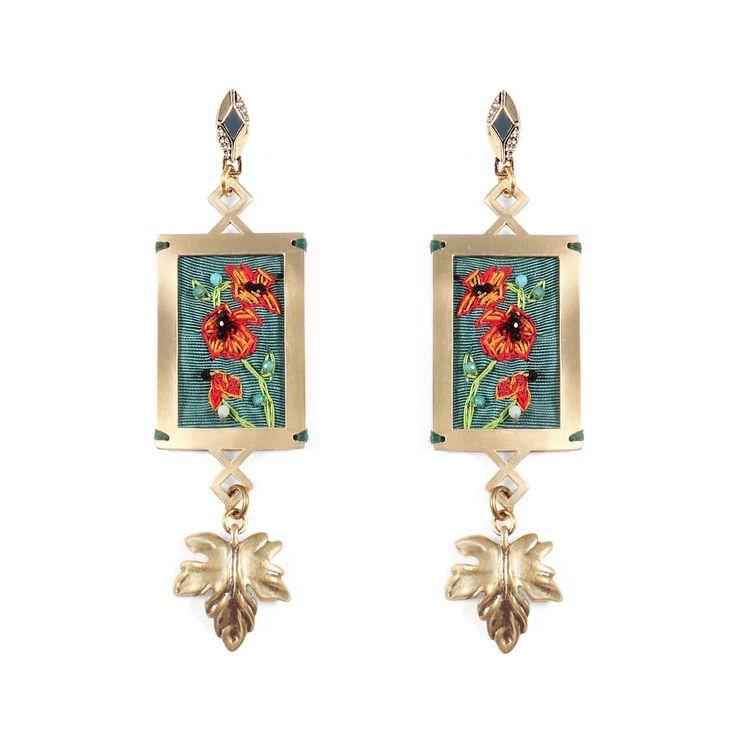 Villa Hand-Embroidered Gold-Plated Brass Drop Earrings Lulu Frost A2uPiKk