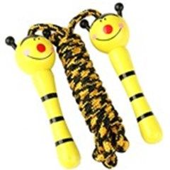 2.0m Mini Puppet Design Nylon Jumping Rope with Wooden Handle for Sports Fitness Exercise - Color Assorted