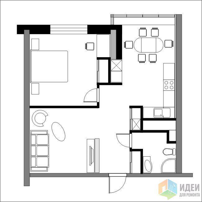 Фотографии [96077]: Перепланировка однокомнатных квартир, новостройки. от дизайнера Валерия Доронина