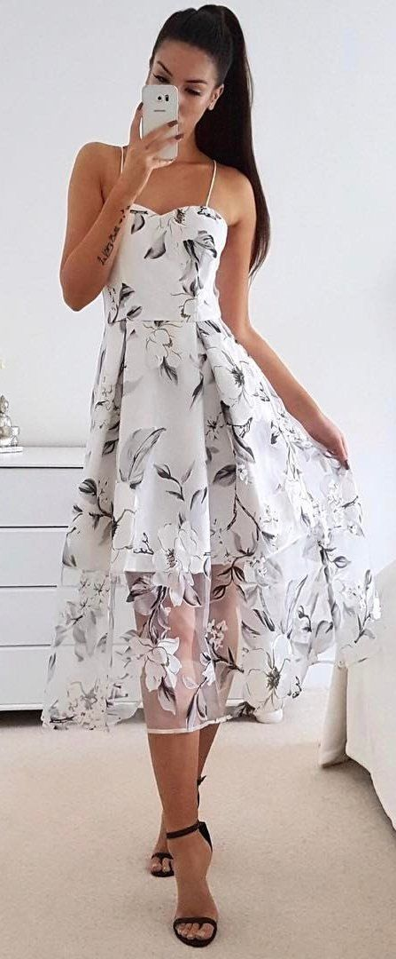 #summer #outfits  White Floral Dress + Black Sandals