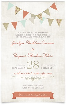 $180 75 Flat Rectangle Wedding Invitations - Vintage Bunting | MagnetStreet
