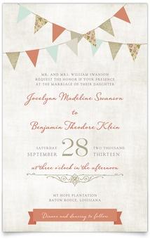 $180 75 Flat Rectangle Wedding Invitations - Vintage Bunting | MagnetStreet