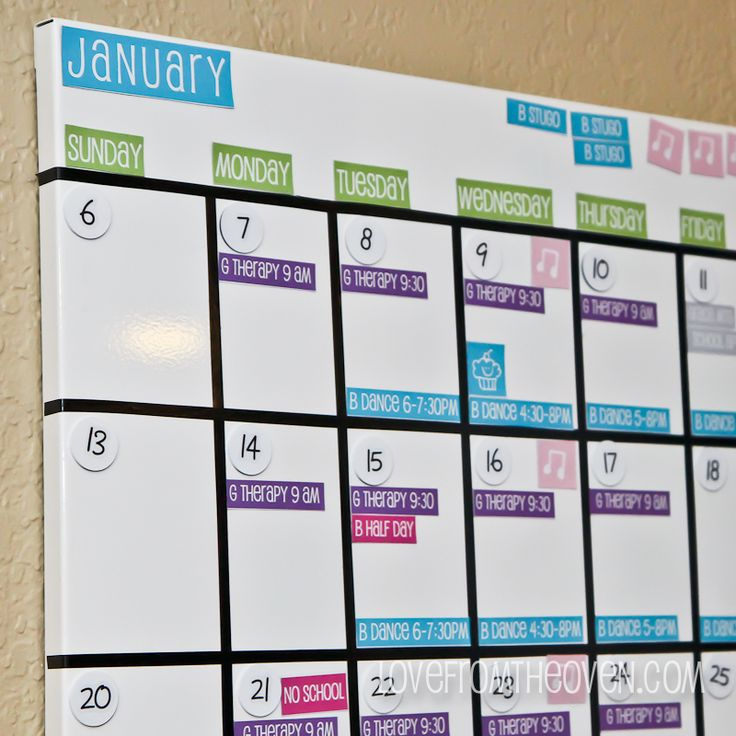 Family Magnetic White Board Calendar With Free Printable Labels by Love From The Oven-10