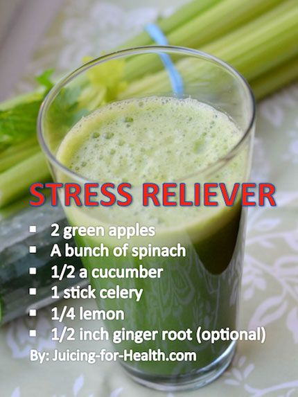 "Suggested Juice For Relieving Stress: ""Prolonged negative emotions are detrimental to health. During this stressful time, this juice combo may help calm your nerves, improve your mood and sleep quality."" 2 green apples A bunch of spinach 1/2 a cucumber 1 stick celery 1/4 lemon 1/2 inch ginger root (optional)"