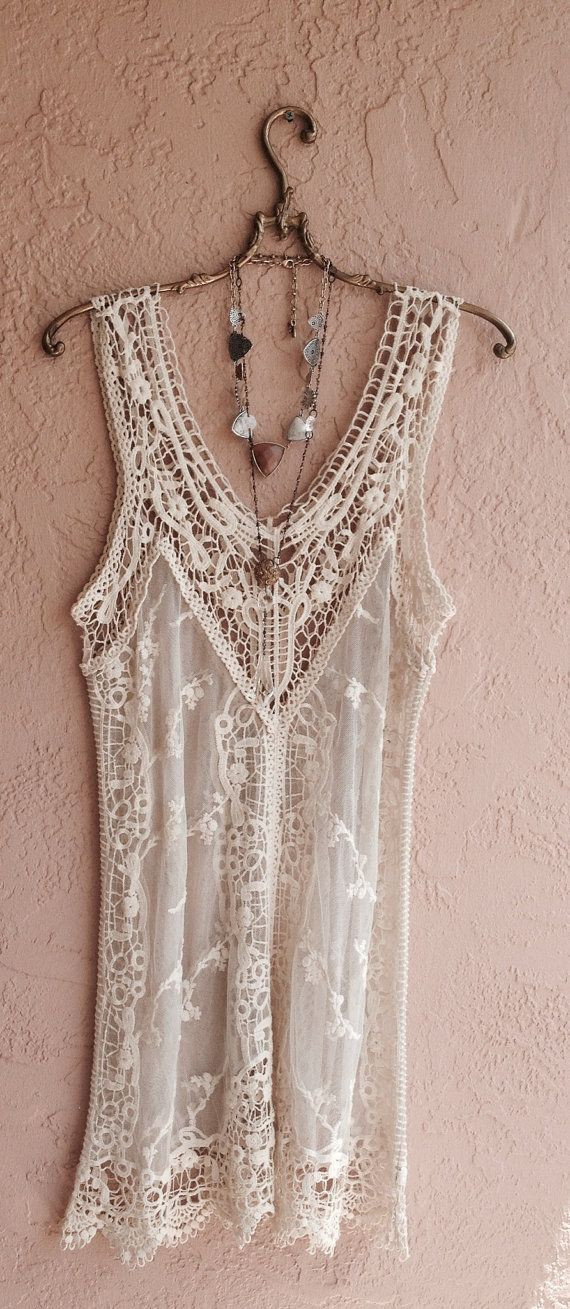 Romantic bohemian gypsy wedding dress or day at beach coverup free matching slip included. BohoAngels