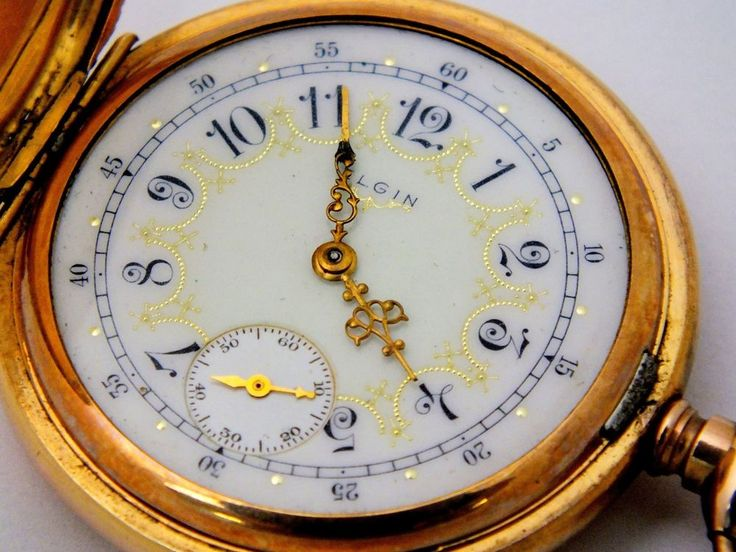 Antique Pocket Watch ELGIN USA 14k Solid GOLD Full Hunter Ornate Case 15 Jewels #Elgin