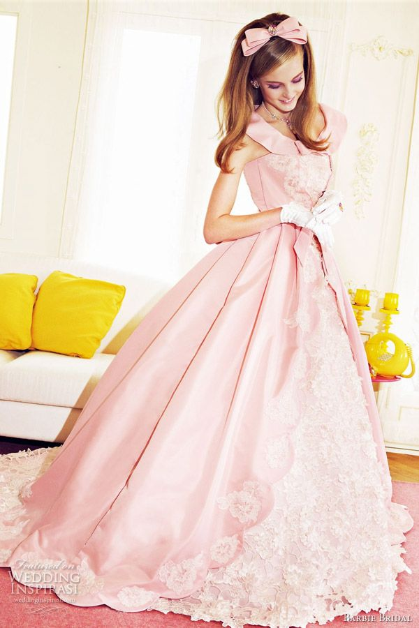 Barbie Bridal pink wedding dress 2012.    I love the large pleats in the skirt, the color, and the use of lace throughout!!!