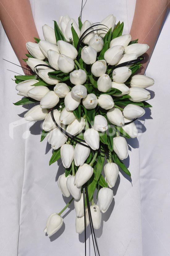 Classic White 'Fresh Touch' Dutch Tulips & Foliage Cascade Bridal Wedding Bouquet