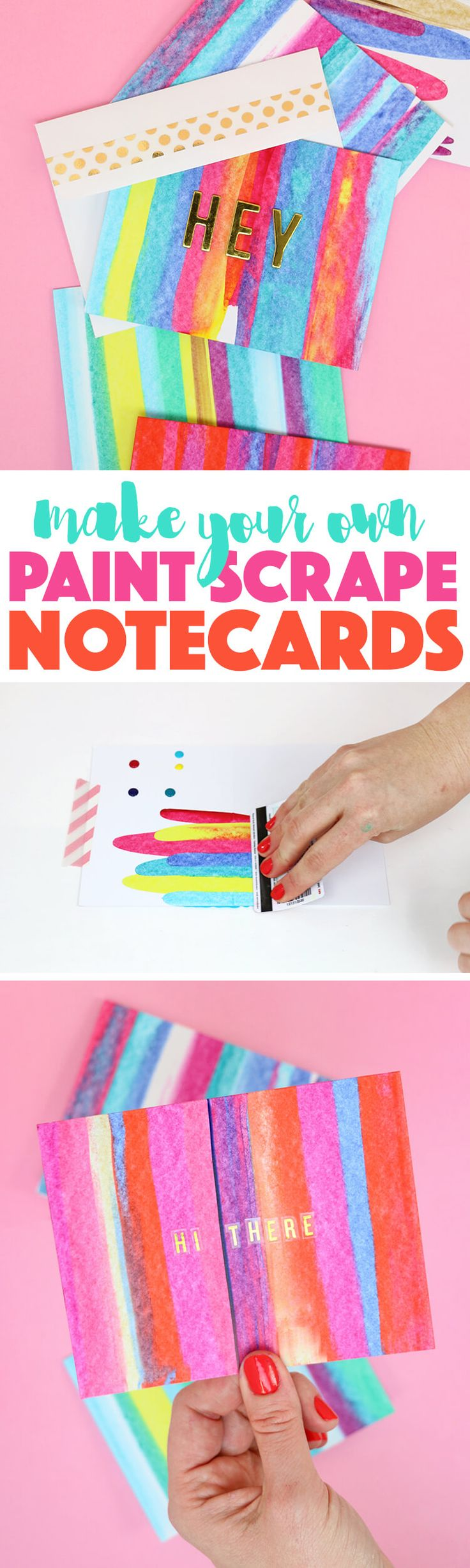 DIY art project idea - so easy and lots of fun - learn how to make paint scrape notecards