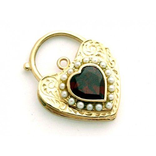 9ct Heart Garnet & Pearl Padlock. gerrim.com