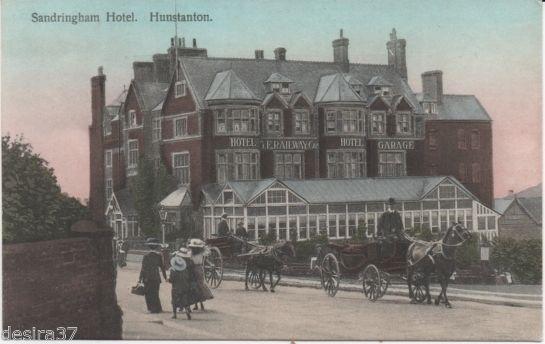 Norfolk Postcard Hunstanton NR Kings Lynn Sandringham Railway Hotel Horse Carts | eBay
