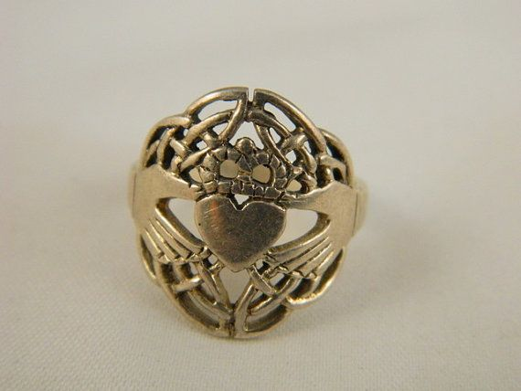 Vintage Sterling Silver Claddagh Ring / Promise Ring / Irish Heart Ring Size 8 by VintageBaublesnBits, $50.00
