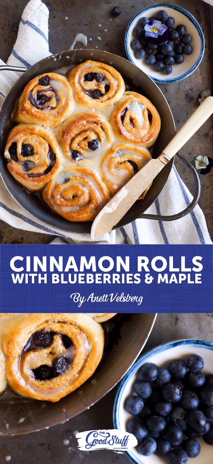 Blueberry and maple syrup cinnamon rolls... Oh! and totally VEGAN!  Now who can resist that?  #CinnamonRolls #Recipe #Vegan #Maple #Blueberry #Blueberries #Bakes #Bake