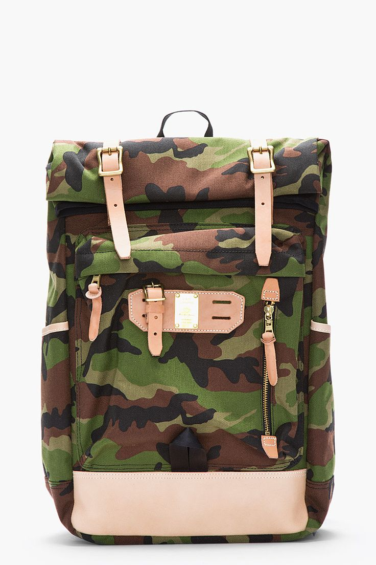 Nanamica cordura 174 twill cycling backpack in green for men blue - Master Piece Co Green Camouflage And Brown Leather Surpass Backpack