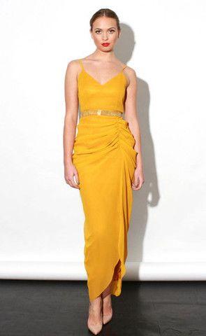 Virgos Lounge Halle Mustard Dress - Virgo Boutique Online