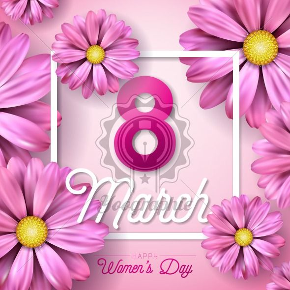 8 March. Happy Womens Day Floral Greeting card. International Holiday Illustration with Flower Design on Pink Background. Vector Spring Template. - Royalty Free Vector Illustration