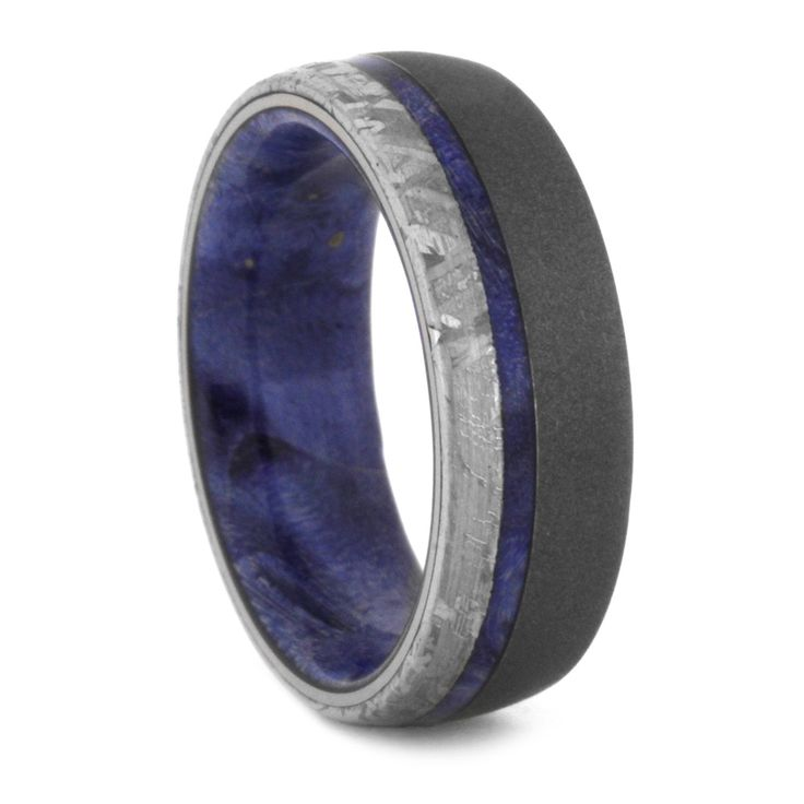 A starry night inspired ring made with a blue box elder burl. This meteorite wedding band has a sandblasted titanium finish on the outer shell and a...