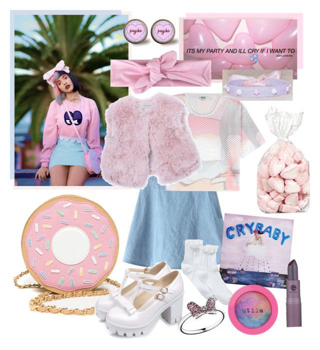 """Cry Baby inspired by Melanie Martinez"" by squalada ❤ liked on Polyvore featuring Lipstick Queen, Stila, Disney, Kenzo and Pili Carrera"